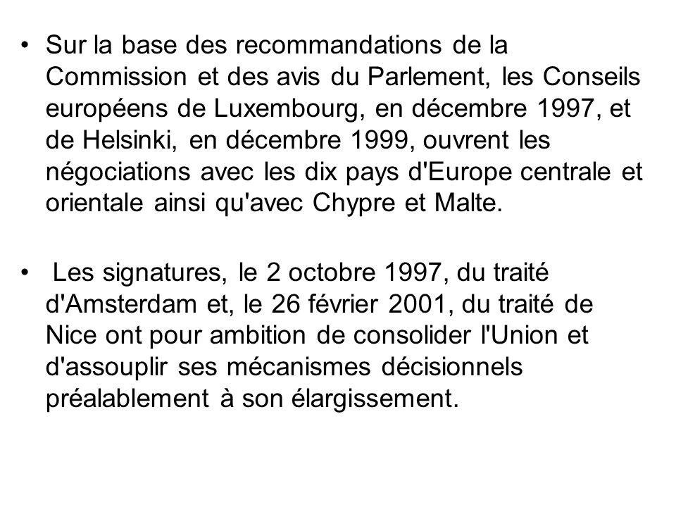 Sur la base des recommandations de la Commission et des avis du Parlement, les Conseils européens de Luxembourg, en décembre 1997, et de Helsinki, en