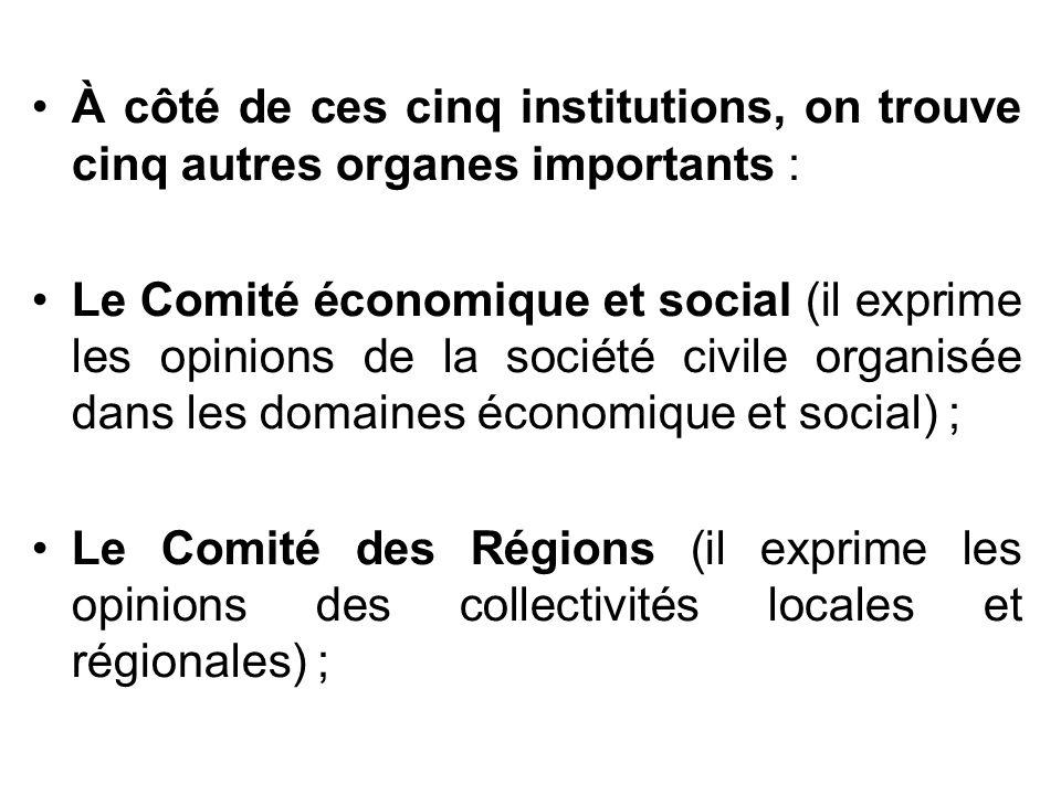 À côté de ces cinq institutions, on trouve cinq autres organes importants : Le Comité économique et social (il exprime les opinions de la société civi