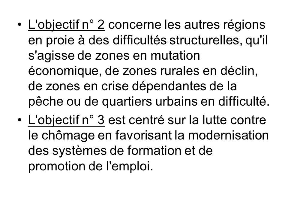 L'objectif n° 2 concerne les autres régions en proie à des difficultés structurelles, qu'il s'agisse de zones en mutation économique, de zones rurales