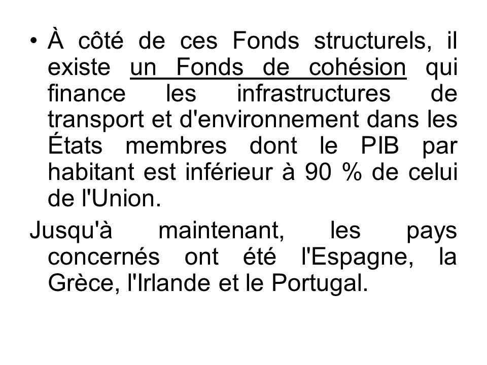 À côté de ces Fonds structurels, il existe un Fonds de cohésion qui finance les infrastructures de transport et d'environnement dans les États membres