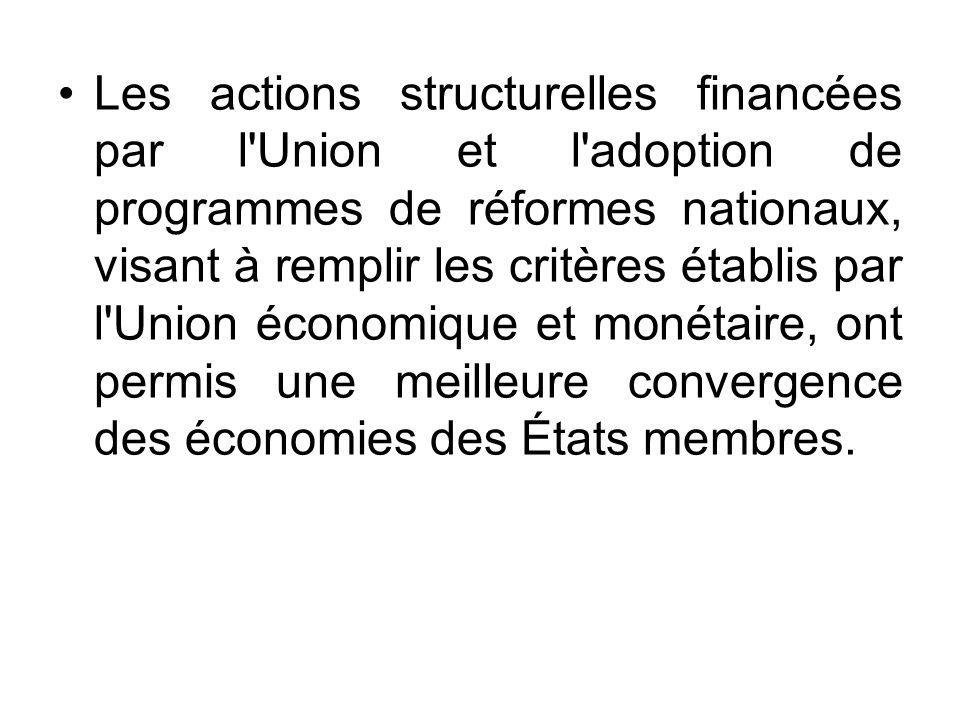 Les actions structurelles financées par l'Union et l'adoption de programmes de réformes nationaux, visant à remplir les critères établis par l'Union é