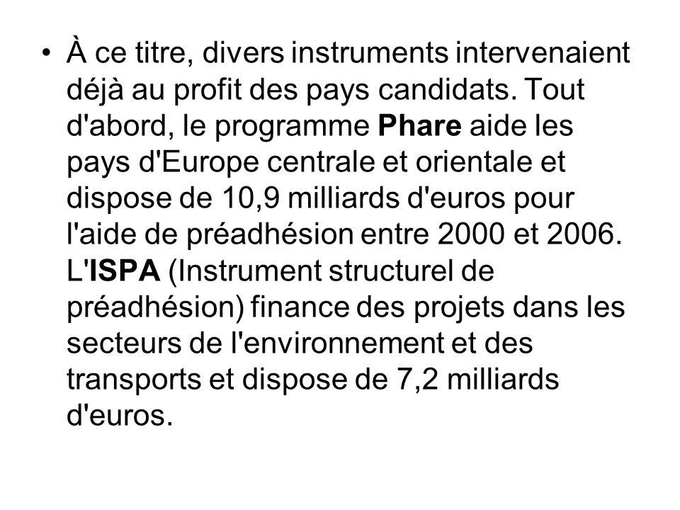 À ce titre, divers instruments intervenaient déjà au profit des pays candidats. Tout d'abord, le programme Phare aide les pays d'Europe centrale et or