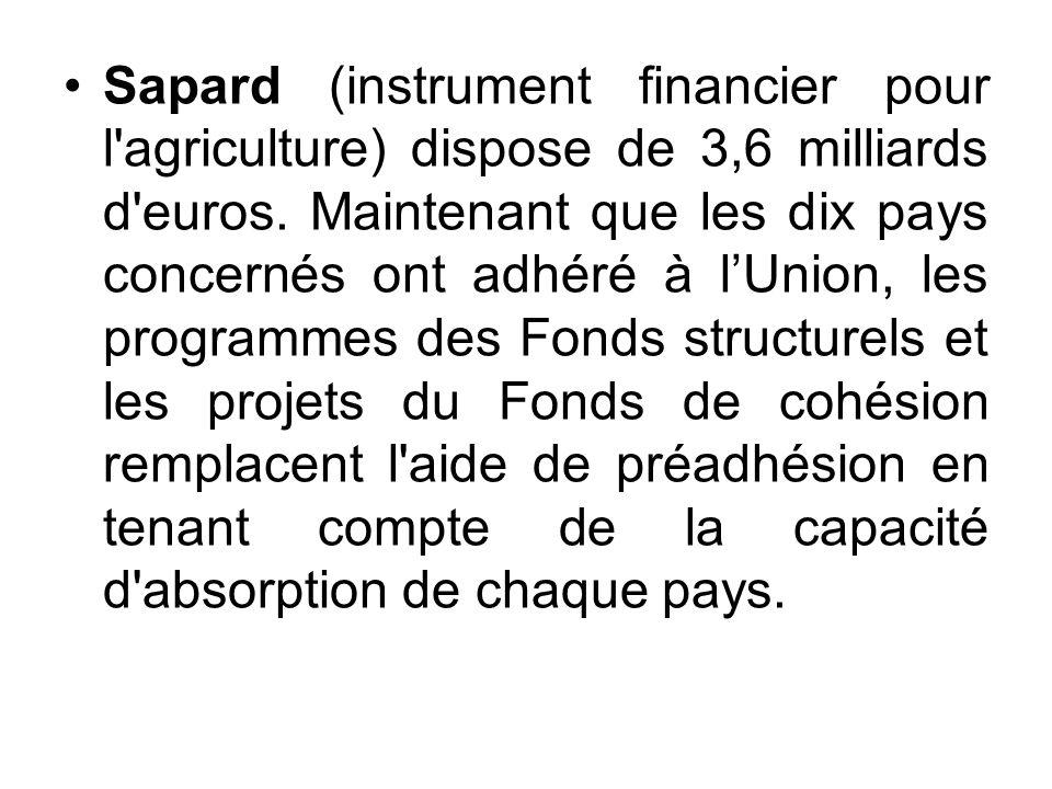 Sapard (instrument financier pour l'agriculture) dispose de 3,6 milliards d'euros. Maintenant que les dix pays concernés ont adhéré à lUnion, les prog