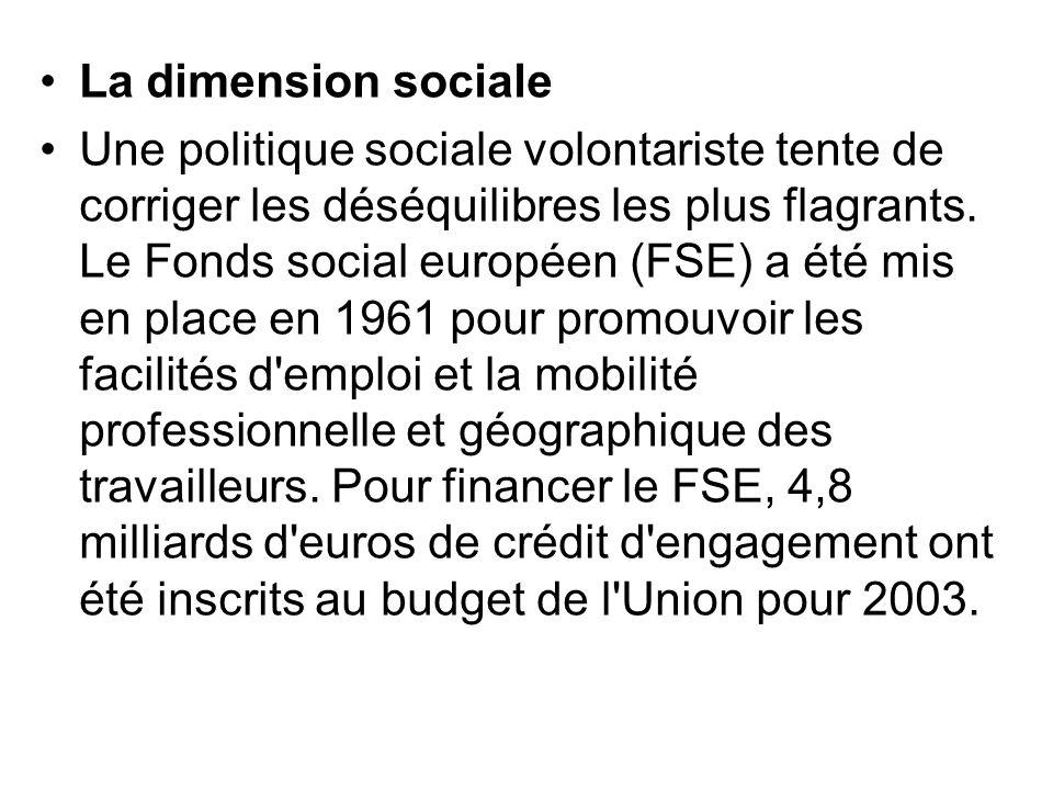 La dimension sociale Une politique sociale volontariste tente de corriger les déséquilibres les plus flagrants. Le Fonds social européen (FSE) a été m
