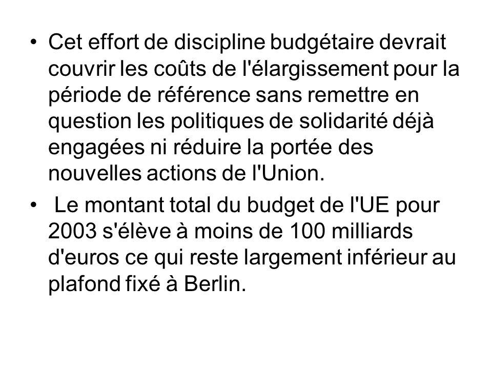 Cet effort de discipline budgétaire devrait couvrir les coûts de l'élargissement pour la période de référence sans remettre en question les politiques