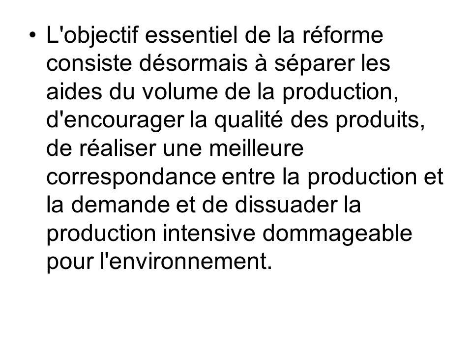 L'objectif essentiel de la réforme consiste désormais à séparer les aides du volume de la production, d'encourager la qualité des produits, de réalise