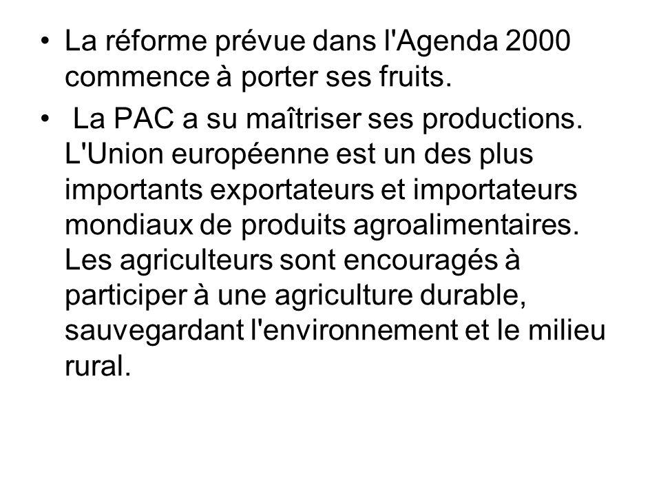 La réforme prévue dans l'Agenda 2000 commence à porter ses fruits. La PAC a su maîtriser ses productions. L'Union européenne est un des plus important