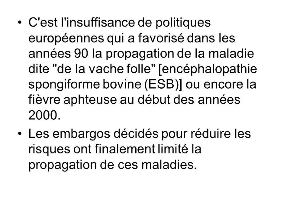 C'est l'insuffisance de politiques européennes qui a favorisé dans les années 90 la propagation de la maladie dite