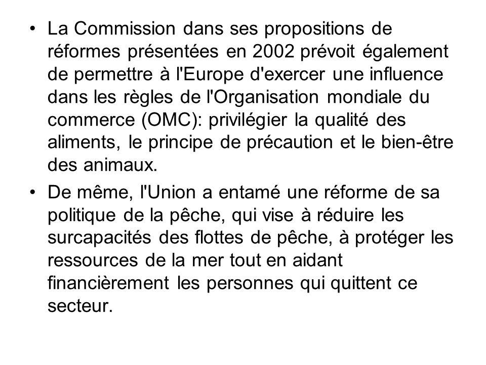 La Commission dans ses propositions de réformes présentées en 2002 prévoit également de permettre à l'Europe d'exercer une influence dans les règles d