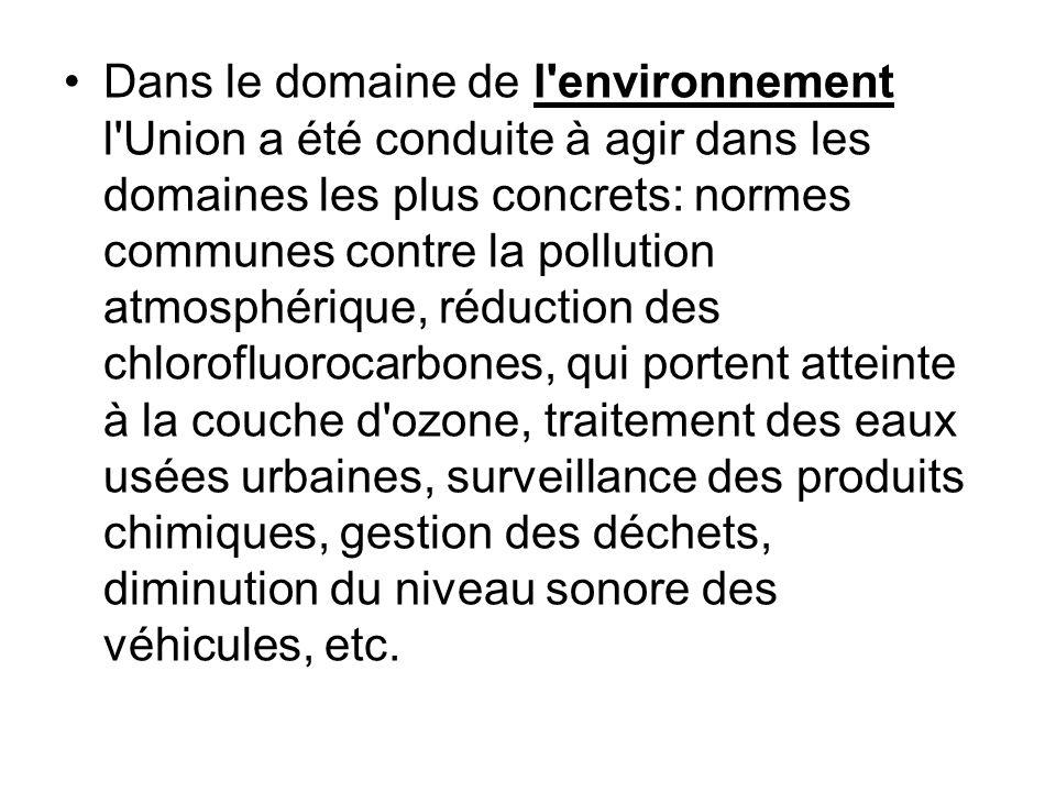 Dans le domaine de l'environnement l'Union a été conduite à agir dans les domaines les plus concrets: normes communes contre la pollution atmosphériqu