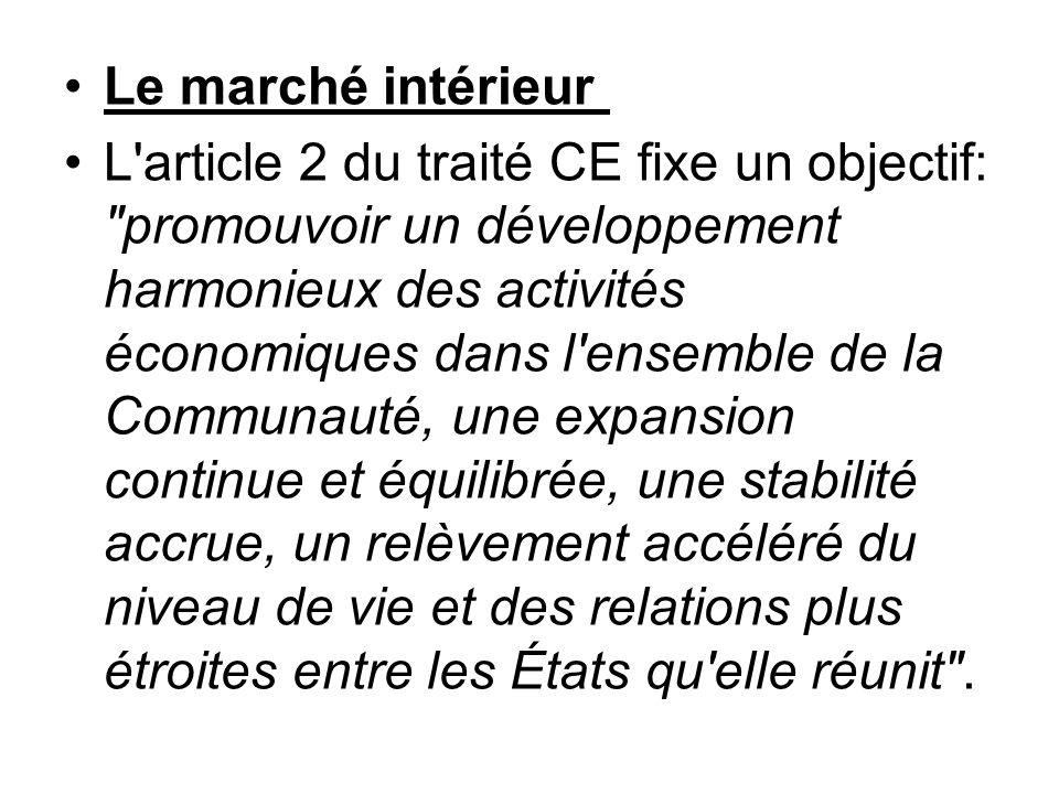 Le marché intérieur L'article 2 du traité CE fixe un objectif: