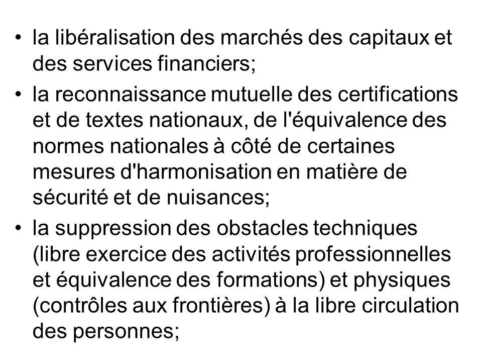 la libéralisation des marchés des capitaux et des services financiers; la reconnaissance mutuelle des certifications et de textes nationaux, de l'équi