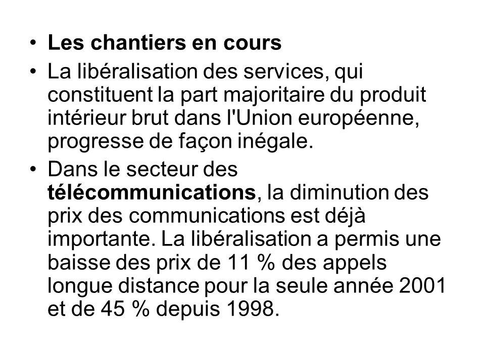 Les chantiers en cours La libéralisation des services, qui constituent la part majoritaire du produit intérieur brut dans l'Union européenne, progress