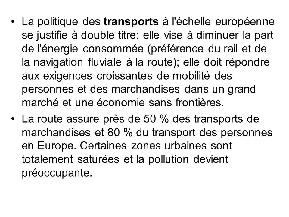 La politique des transports à l'échelle européenne se justifie à double titre: elle vise à diminuer la part de l'énergie consommée (préférence du rail