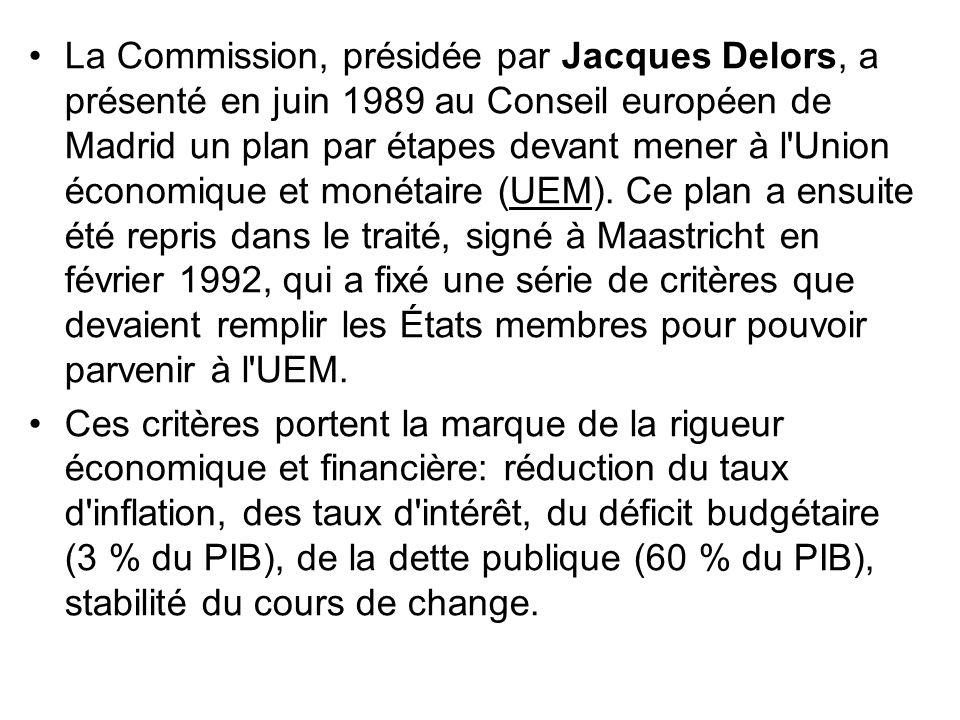 La Commission, présidée par Jacques Delors, a présenté en juin 1989 au Conseil européen de Madrid un plan par étapes devant mener à l'Union économique