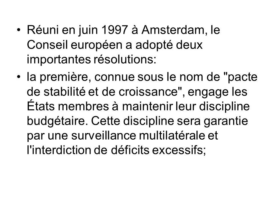 Réuni en juin 1997 à Amsterdam, le Conseil européen a adopté deux importantes résolutions: la première, connue sous le nom de