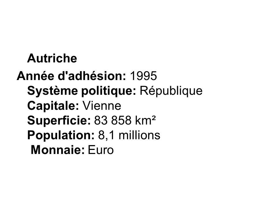Année d'adhésion: 1995 Système politique: République Capitale: Vienne Superficie: 83 858 km² Population: 8,1 millions Monnaie: Euro