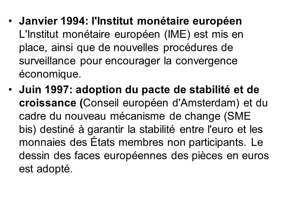 Janvier 1994: l'Institut monétaire européen L'Institut monétaire européen (IME) est mis en place, ainsi que de nouvelles procédures de surveillance po