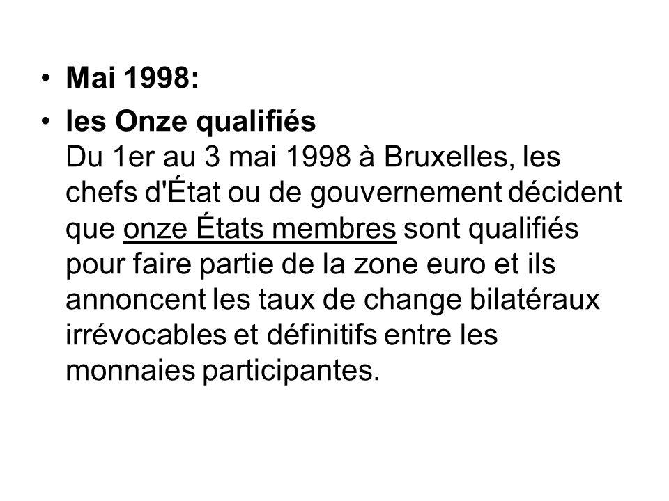 Mai 1998: les Onze qualifiés Du 1er au 3 mai 1998 à Bruxelles, les chefs d'État ou de gouvernement décident que onze États membres sont qualifiés pour