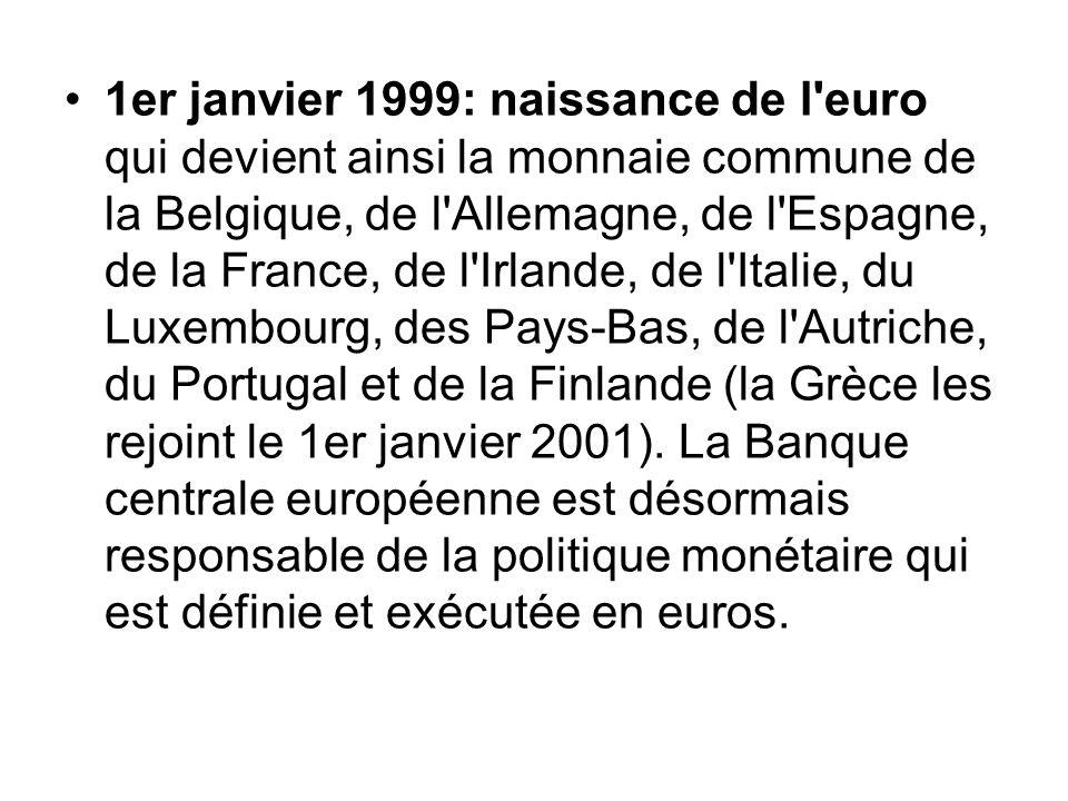 1er janvier 1999: naissance de l'euro qui devient ainsi la monnaie commune de la Belgique, de l'Allemagne, de l'Espagne, de la France, de l'Irlande, d