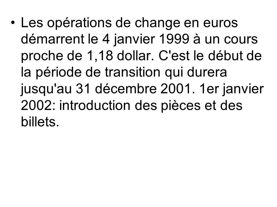 Les opérations de change en euros démarrent le 4 janvier 1999 à un cours proche de 1,18 dollar. C'est le début de la période de transition qui durera