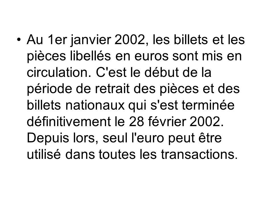 Au 1er janvier 2002, les billets et les pièces libellés en euros sont mis en circulation. C'est le début de la période de retrait des pièces et des bi