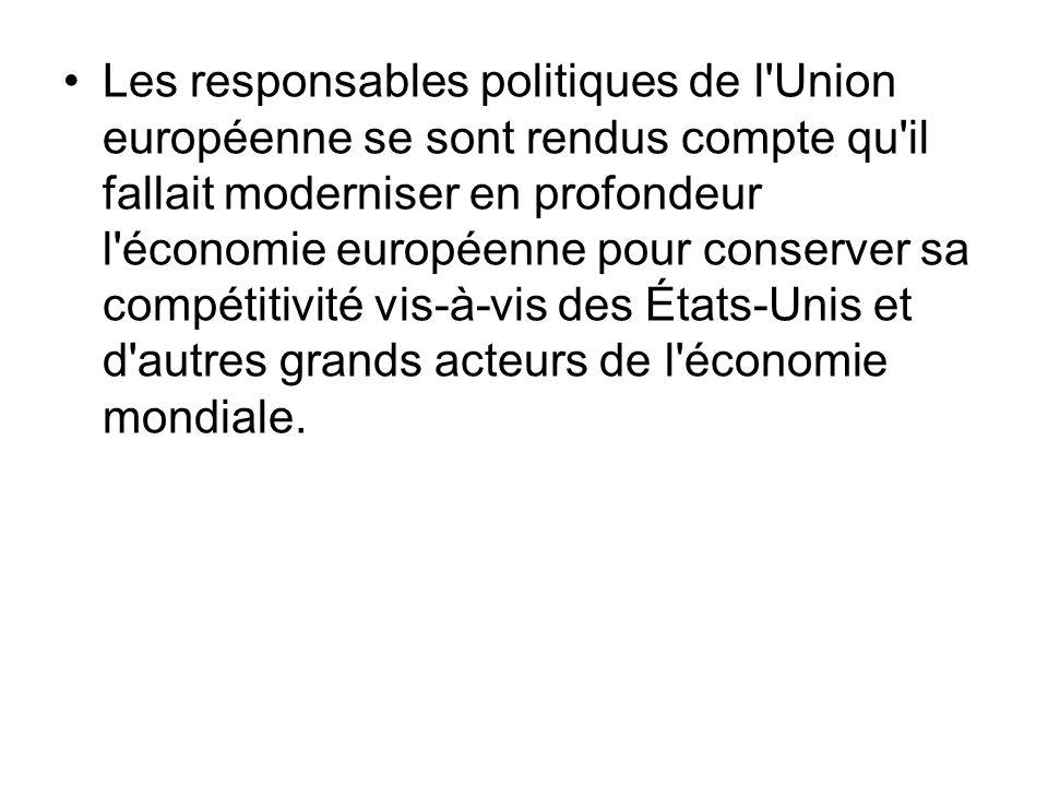 Les responsables politiques de l'Union européenne se sont rendus compte qu'il fallait moderniser en profondeur l'économie européenne pour conserver sa