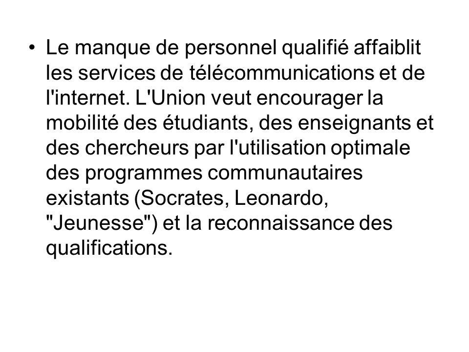 Le manque de personnel qualifié affaiblit les services de télécommunications et de l'internet. L'Union veut encourager la mobilité des étudiants, des