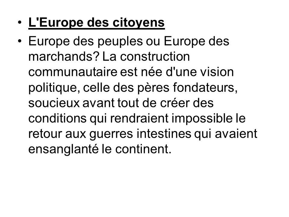L'Europe des citoyens Europe des peuples ou Europe des marchands? La construction communautaire est née d'une vision politique, celle des pères fondat