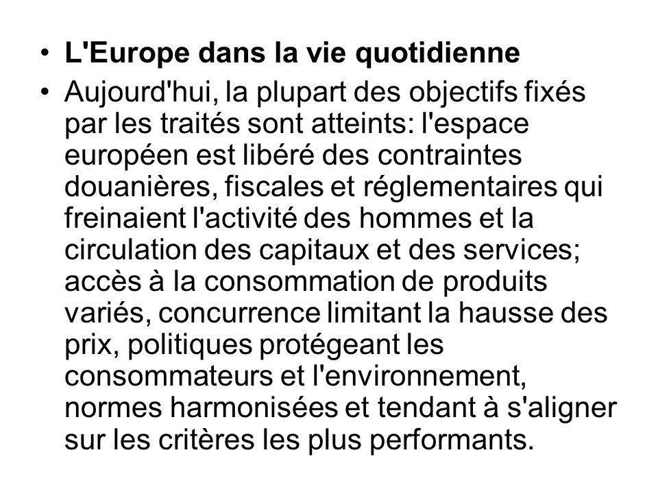L'Europe dans la vie quotidienne Aujourd'hui, la plupart des objectifs fixés par les traités sont atteints: l'espace européen est libéré des contraint