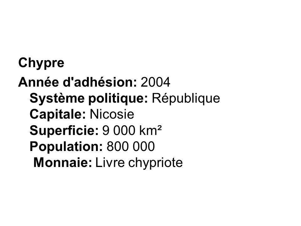 Chypre Année d'adhésion: 2004 Système politique: République Capitale: Nicosie Superficie: 9 000 km² Population: 800 000 Monnaie: Livre chypriote