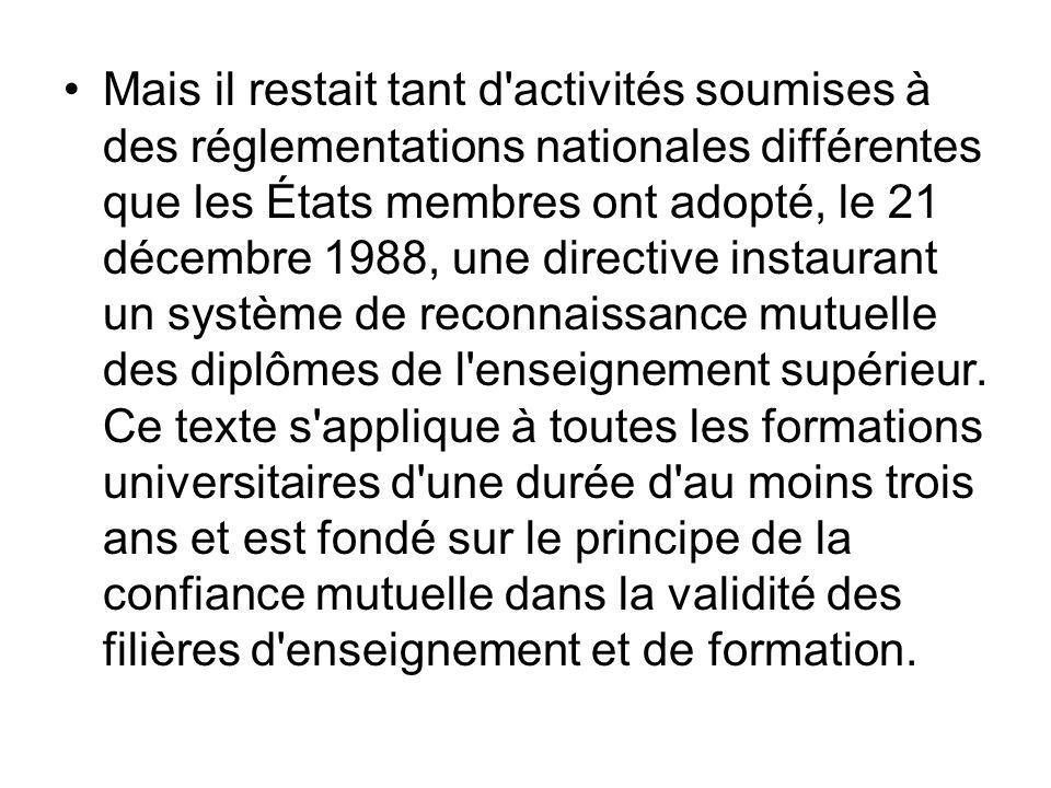 Mais il restait tant d'activités soumises à des réglementations nationales différentes que les États membres ont adopté, le 21 décembre 1988, une dire