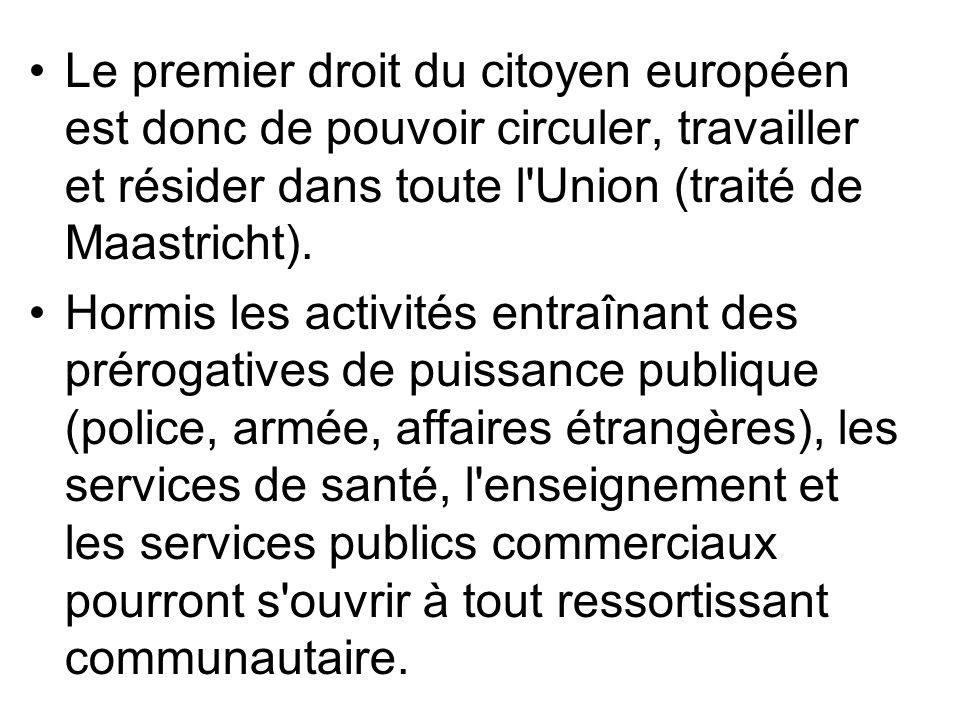 Le premier droit du citoyen européen est donc de pouvoir circuler, travailler et résider dans toute l'Union (traité de Maastricht). Hormis les activit