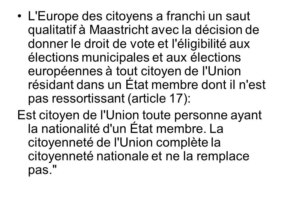 L'Europe des citoyens a franchi un saut qualitatif à Maastricht avec la décision de donner le droit de vote et l'éligibilité aux élections municipales