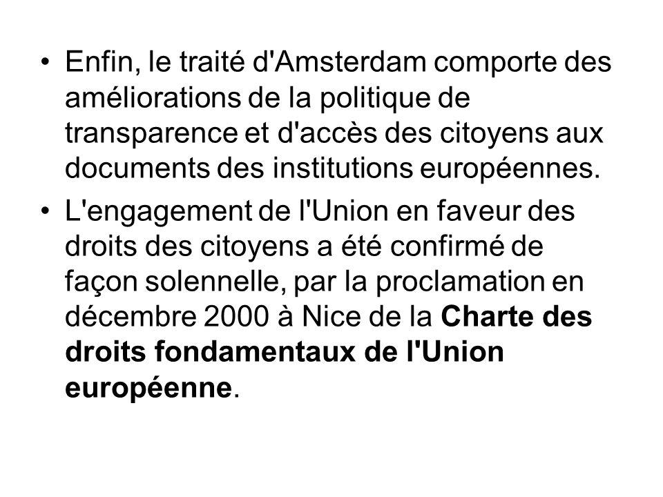 Enfin, le traité d'Amsterdam comporte des améliorations de la politique de transparence et d'accès des citoyens aux documents des institutions europée