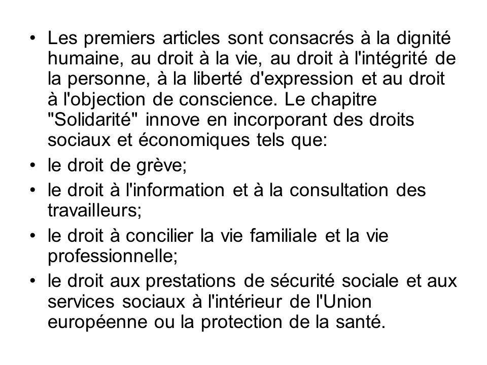 Les premiers articles sont consacrés à la dignité humaine, au droit à la vie, au droit à l'intégrité de la personne, à la liberté d'expression et au d