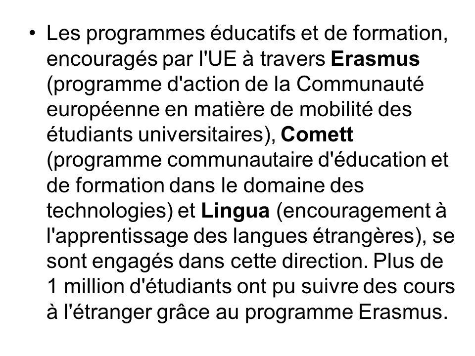 Les programmes éducatifs et de formation, encouragés par l'UE à travers Erasmus (programme d'action de la Communauté européenne en matière de mobilité