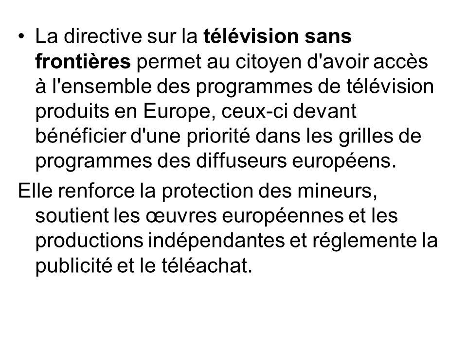 La directive sur la télévision sans frontières permet au citoyen d'avoir accès à l'ensemble des programmes de télévision produits en Europe, ceux-ci d