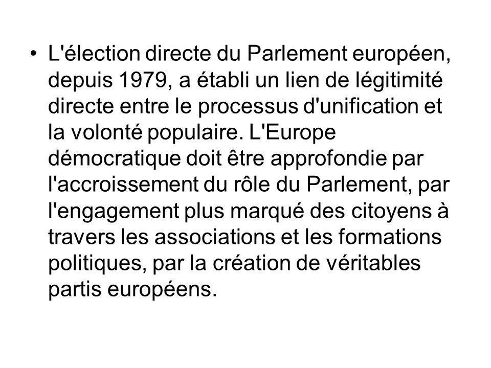L'élection directe du Parlement européen, depuis 1979, a établi un lien de légitimité directe entre le processus d'unification et la volonté populaire