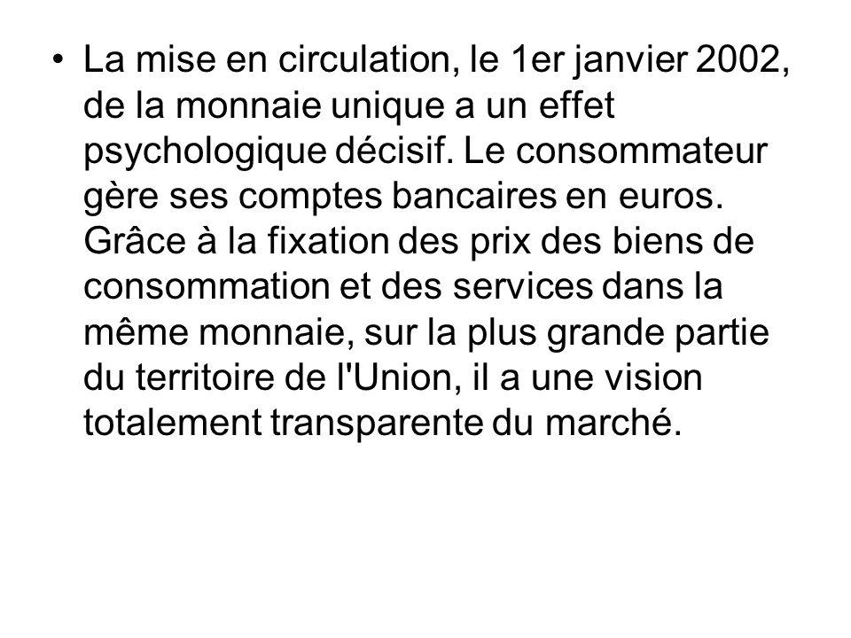 La mise en circulation, le 1er janvier 2002, de la monnaie unique a un effet psychologique décisif. Le consommateur gère ses comptes bancaires en euro