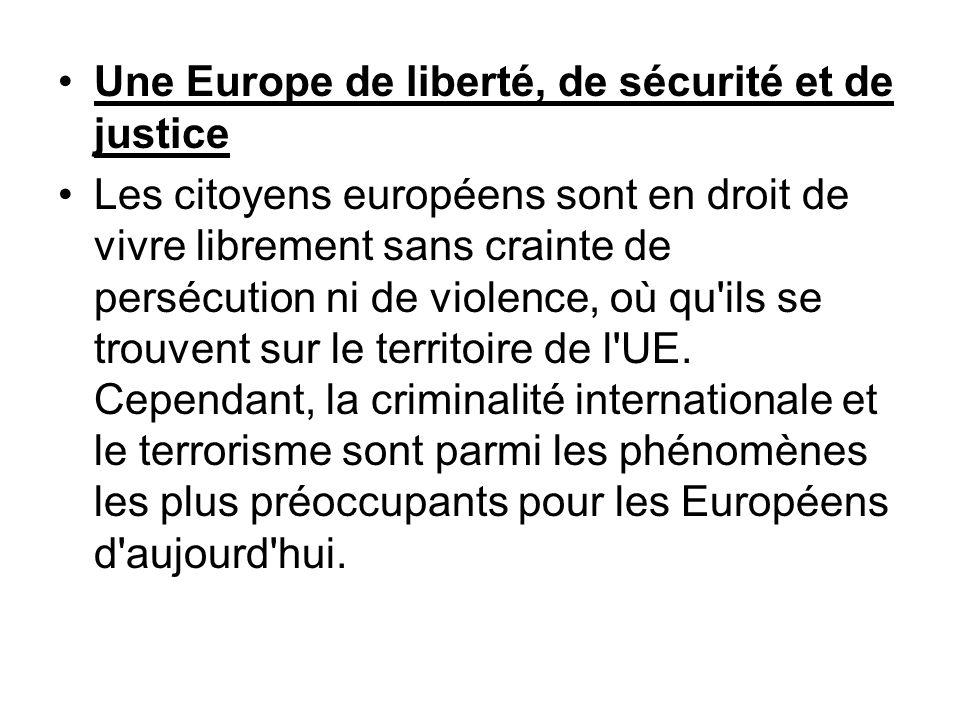 Une Europe de liberté, de sécurité et de justice Les citoyens européens sont en droit de vivre librement sans crainte de persécution ni de violence, o