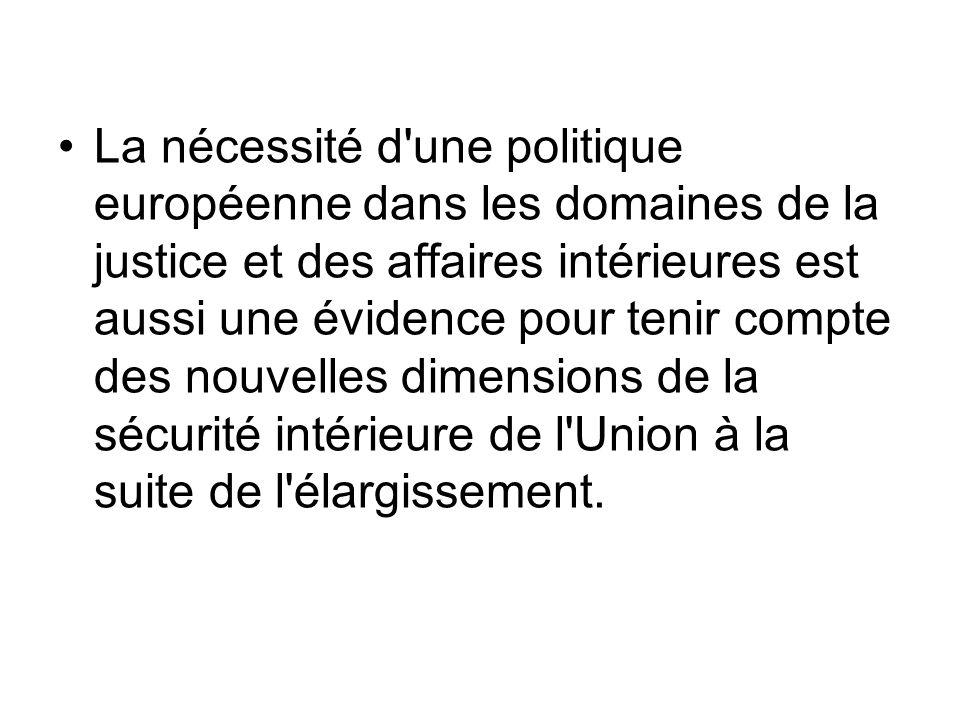 La nécessité d'une politique européenne dans les domaines de la justice et des affaires intérieures est aussi une évidence pour tenir compte des nouve