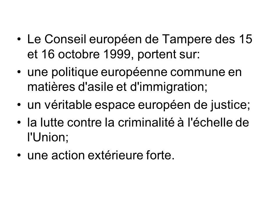 Le Conseil européen de Tampere des 15 et 16 octobre 1999, portent sur: une politique européenne commune en matières d'asile et d'immigration; un vérit