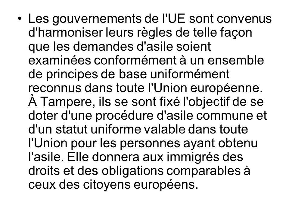 Les gouvernements de l'UE sont convenus d'harmoniser leurs règles de telle façon que les demandes d'asile soient examinées conformément à un ensemble