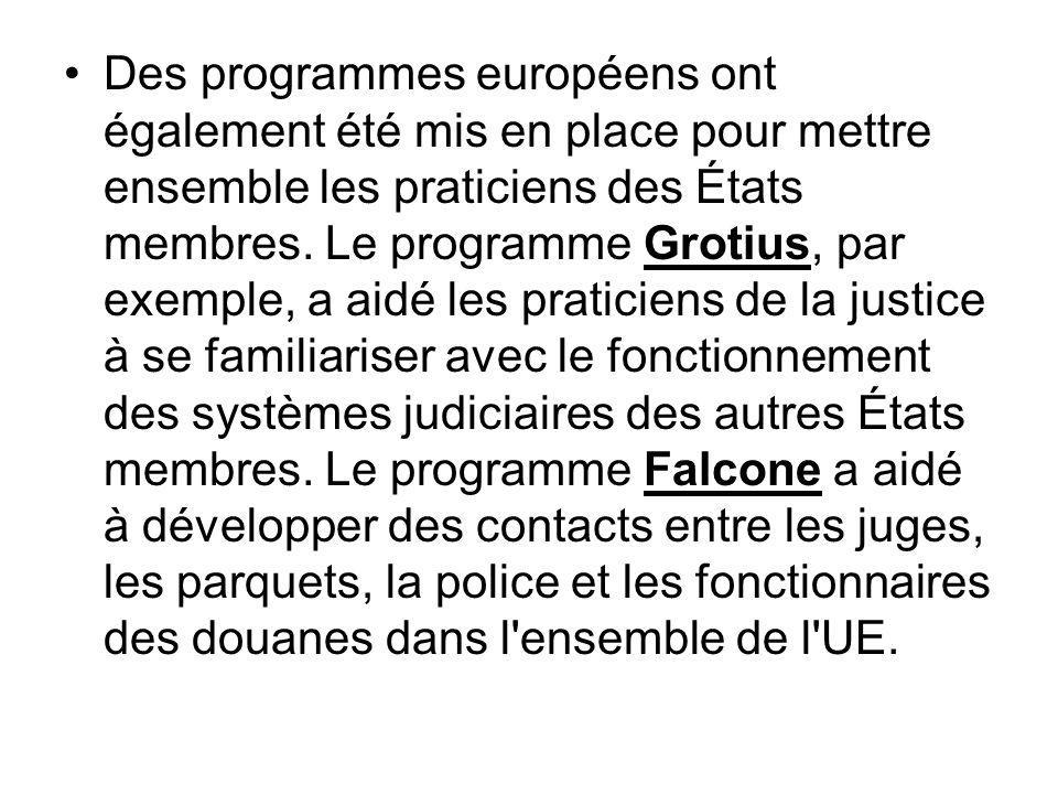 Des programmes européens ont également été mis en place pour mettre ensemble les praticiens des États membres. Le programme Grotius, par exemple, a ai