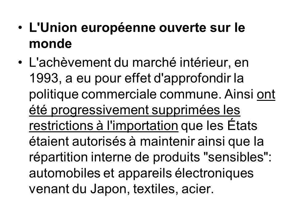 L'Union européenne ouverte sur le monde L'achèvement du marché intérieur, en 1993, a eu pour effet d'approfondir la politique commerciale commune. Ain