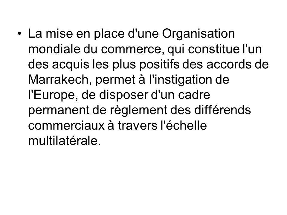 La mise en place d'une Organisation mondiale du commerce, qui constitue l'un des acquis les plus positifs des accords de Marrakech, permet à l'instiga