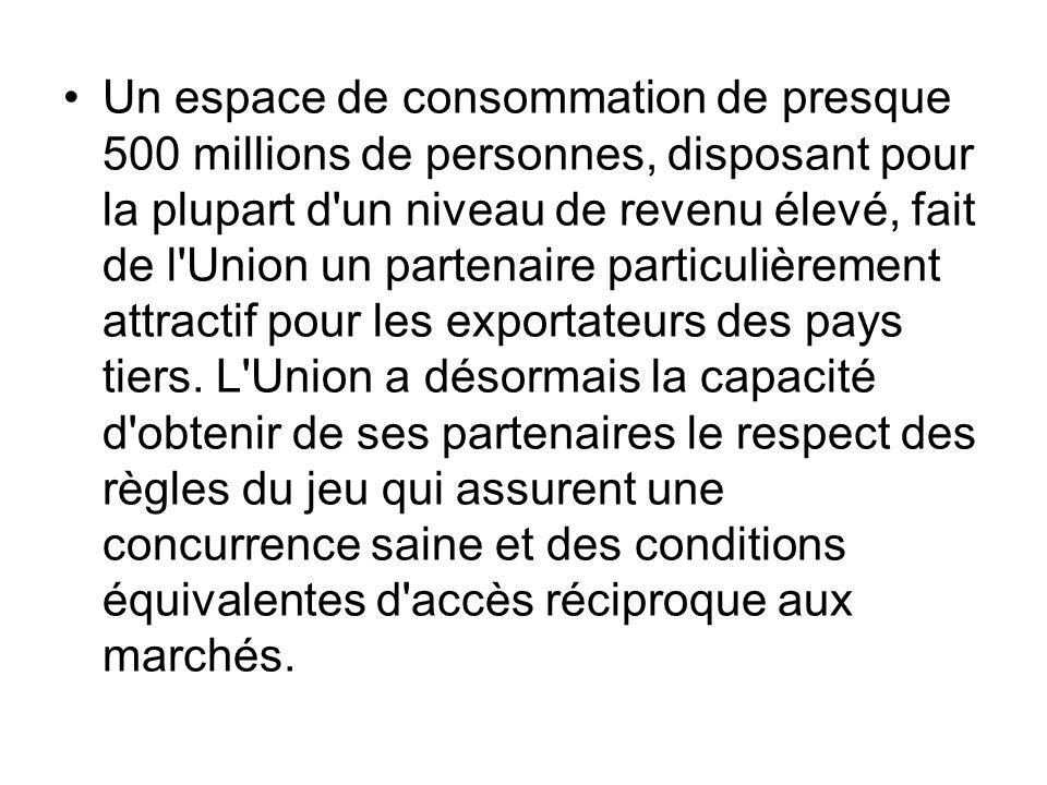 Un espace de consommation de presque 500 millions de personnes, disposant pour la plupart d'un niveau de revenu élevé, fait de l'Union un partenaire p