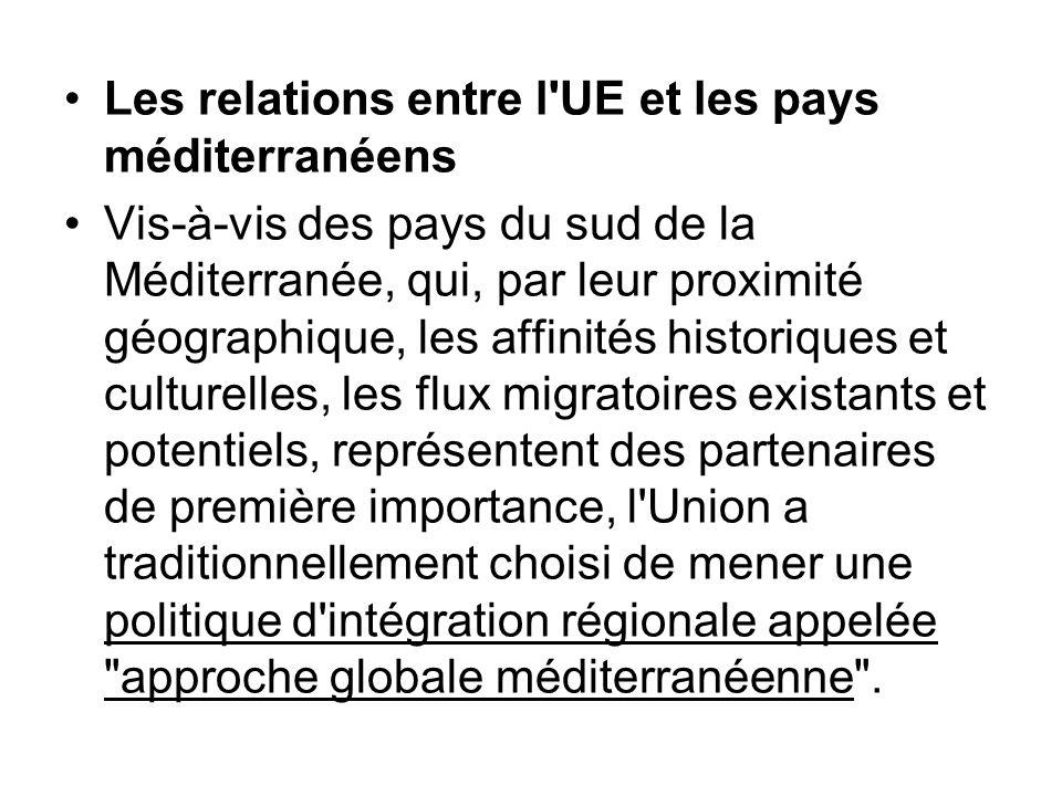 Les relations entre l'UE et les pays méditerranéens Vis-à-vis des pays du sud de la Méditerranée, qui, par leur proximité géographique, les affinités