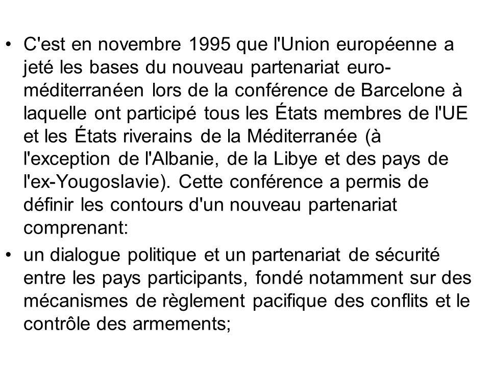 C'est en novembre 1995 que l'Union européenne a jeté les bases du nouveau partenariat euro- méditerranéen lors de la conférence de Barcelone à laquell